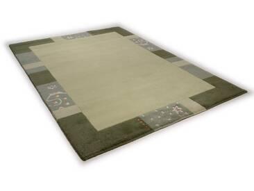 THEKO Teppich »Ganges 991«, rechteckig, Höhe 14 mm, von Hand geknüpft, grün, 14 mm, grün