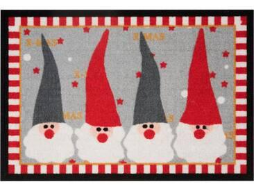 HANSE Home Fußmatte »Weihnachtswichtel«, rechteckig, Höhe 7 mm, rot, 7 mm, rot-grau