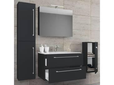 VCM 5-tlg. Waschplatz mit Spiegelschrank Badinos, schwarz, Breite 80 cm Schwarz