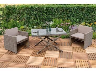 MERXX Gartenmöbelset »Avola«, 7-tlg., 2 Sessel, Tisch 130x80 cm, Polyrattan, natur, natur, natur