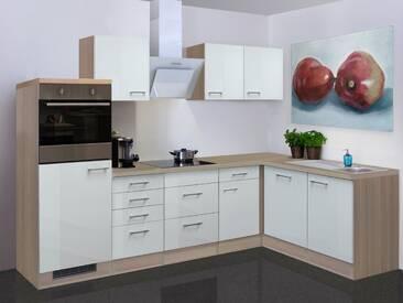 Flex-Well Küchenzeile mit E-Geräten »Abaco«, Gesamtbreite 280x170 cm, silberfarben, mit Aufbauservice, silberfarben