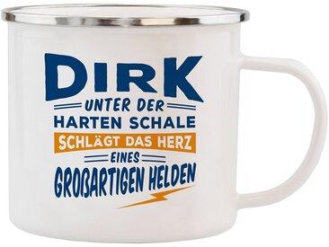 HTI-Living Echter Kerl Emaille Becher »Dirk«, weiß, Weiss
