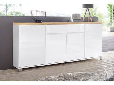 HMW Sideboard »Thila«, Breite 193 cm 4-türig, weiß, weiß Hochglanz/Balkeneichefarben