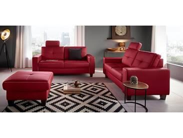 Places of Style Hocker »Casoria« mit Kreuznaht und Federkern, rot, rot