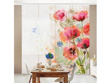 Bilderwelten Schiebegardinen Set »Aquarell Blumen Mohn«, bunt, Wandhalterung, 250 x 240cm (4 Vorhänge), Farbig