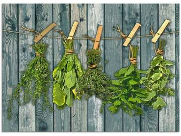 Artland Küchenrückwände »Team 5: Kräuter mit Holzoptik«, grün, 65x90 cm, Grün