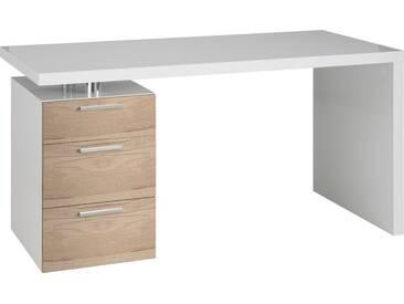 HMW Schreibtisch, »Match«, mit 3 Schubkästen, natur, weiß-eiche