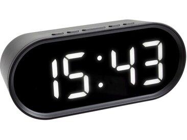 TFA Dostmann Digitaler Wecker mit LED-Leuchtziffern, schwarz, schwarz