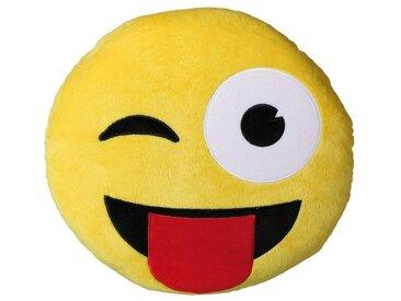 Emoticon-Plüschkissen »Zwinker-Zunge«, gelb, gelb