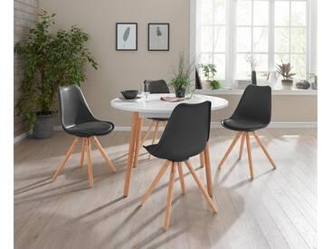 Essgruppe, 5-teilig mit rundem Tisch, schwarz, mit Aufbauservice, Weiß/schwarz