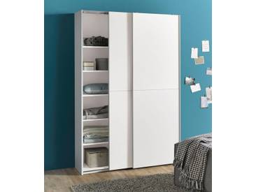 Schwebetürenschrank, weiß, 125 cm, 2 Türen, weiß