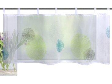 Vision S Scheibengardine »RAWLINS«, Schlaufen (1 Stück), Cafehaus Voile Digitaldruck, grün, Schlaufen, transparent, grün-blau