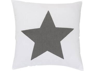 ELBERSDRUCKE Kissen, Elbersdrucke, »BIG STAR« (1 Stück), weiß, Baumwolle, weiß-anthrazit