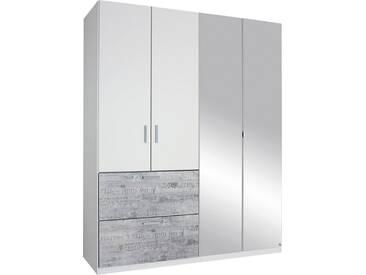 rauch SELECT Kleiderschrank mit Spiegel, weiß, Breite 181 cm, 4-türig, Ohne Aufbauservice, Ohne Aufbauservice, weiß mit grauem Vintage-Dekor