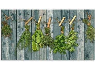 Artland Küchenrückwände »Team 5: Kräuter mit Holzoptik«, grün, 60x110 cm, Grün