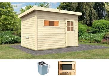 Karibu KARIBU Saunahaus »Uwe 2«, 337/231/239 cm, 9-kW-Ofen mit int. Steuerung, natur, 9-kW-Ofen mit integrierter Steuerung, natur