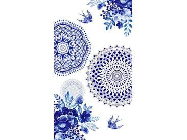 hip Strandtuch »Grande«, mit Mandala & Vogel, blau, Frotteevelours, blau