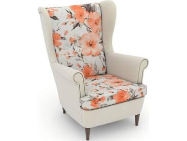 Max Winzer® build-a-chair Ohrensessel »Casimir« im Winchester-Look, zum Selbstgestalten, rosa, Korpus: Samtvelours creme, Microvelours Blüte lachs