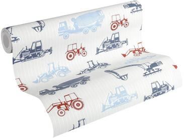 Esprit Vliestapete, »strukturierte Kids Tapete Tractors«, bunt, blau;rot;weiß