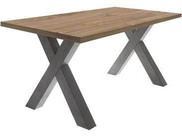 Kulissen-Esstisch, Füße in moderner X-Form, grau, Breite 140 cm, graphit-eichefarben