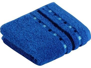 Vossen Waschlappen »Atletico«, mit aufwändiger Bordüre, blau, Wirkfrottee, orbit