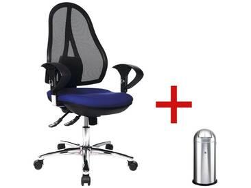 TOPSTAR Bürostuhl (mit Armlehnen) inkl. Abfallsammler »Open Point SY Deluxe« 1 Set, blau, blau