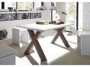 Kulissen-Esstisch, Füße in moderner X-Form, weiß, Breite 140 cm, rost/weiß