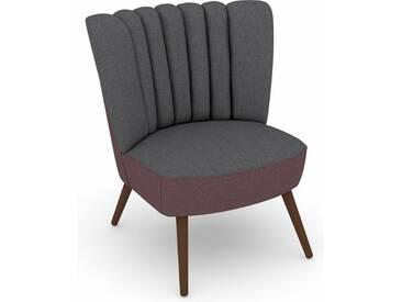 Max Winzer® build-a-chair Stuhlsessel »Aspen« im Retrolook, zum Selbstgestalten, grau, Korpus: Flachgewebe 16452 aubergine, Flachgewebe 16452 grau