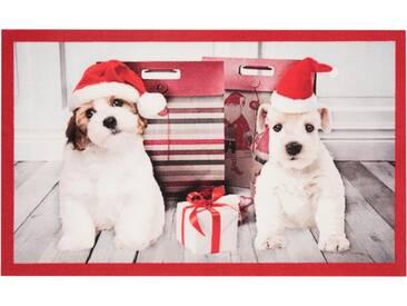 HANSE Home Fußmatte »Christmas Dogs«, rechteckig, Höhe 7 mm, rot, 7 mm, rot