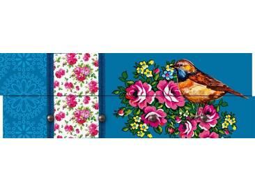 Artland Wandgarderobe »Jule: Vogel mit floralen Ornamenten - blau«, blau, 30 x 90 x 2,8 cm, Blau