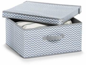 Zeller Present Zeller Aufbewahrungsbox m. Deckel, Vlies, weiß/grau, weiß, Maße (B/T/H): 35/41/20 cm, weiß/grau