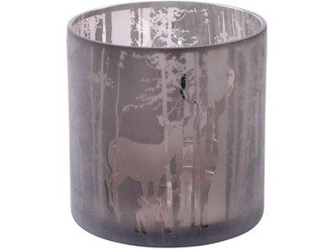 Windlicht »Hirschfamilie«, Glas, grau, H: 20 cm, silberfarben-grau