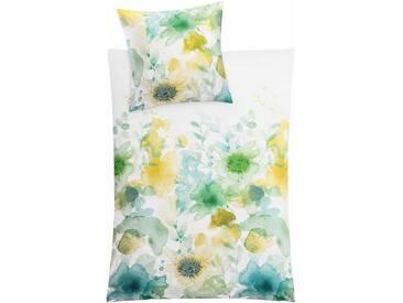 Kleine Wolke Bettwäsche »Flores«, mit getupften Blumen, grün, 1x 155x220 cm, Mako-Satin, grün
