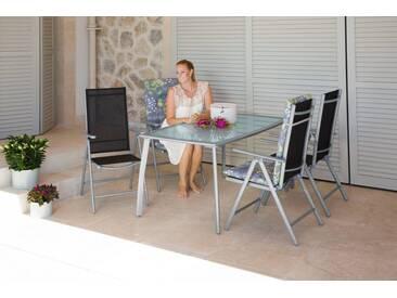 MERXX Gartenmöbelset »Lima«, 5-tlg., 4 Hochlehner, Tisch 150x90 cm,Alu/Textil, schwarz, schwarz