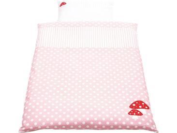 Pinolino® Babybettwäsche »Glückspilz«, mit aufwendingen Applikationen, rosa, 1x 100x135 cm, Perkal, rosa