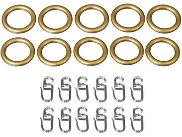 Liedeco Gardinenring, Gardinenstangen, (Set, 10-St., mit Faltenlegehaken), für Gardinenstangen Ø 20 mm, goldfarben, goldfarben