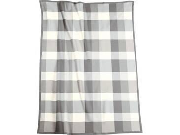 BIEDERLACK Wohndecke »Brighton«, mit Karomuster, grau, Baumwolle-Kunstfaser, grau