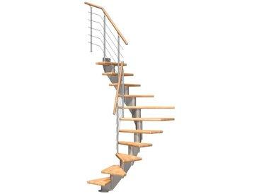 Dolle DOLLE Mittelholmtreppe »Frankfurt Buche 75«, bis 279 cm, Edelstahlgeländer, versch. Ausführungen, natur, 1/2 gewendelt, natur