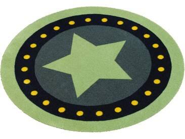 Zala Living Teppich »Stern«, rund, Höhe 7 mm, rund, grün, 7 mm, grün-blau
