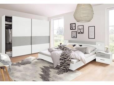 Wimex Schlafzimmer-Set »Angie«, 4-teilig, weiß, Set mit Schwebetürenschrank Breite 225 cm, weiß/betonfarben lichtgrau