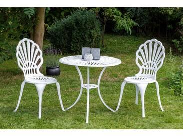 MERXX Balkonset »Patmos«, 3-tlg., 2 Sessel, 1 Tisch Ø 70 cm, Aluminium, weiß, weiß