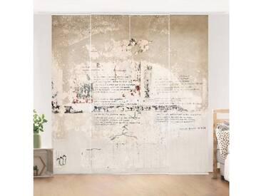 Bilderwelten Schiebegardinen Set »Alte Betonwand mit Bertolt Brecht Versen«, Deckenhalterung, 250 x 240cm (4 Vorhänge), Farbig