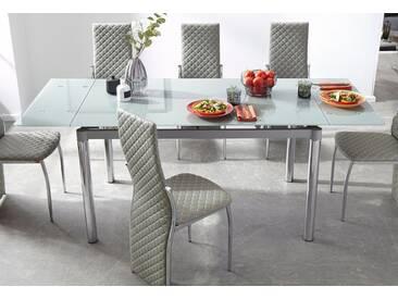 Esstisch, grau, Kulissenauszug, Tischplatte: Glas, Gestell: Metall, Tischplatte: Glas, Gestell: Metall, 140x80 cm, grau