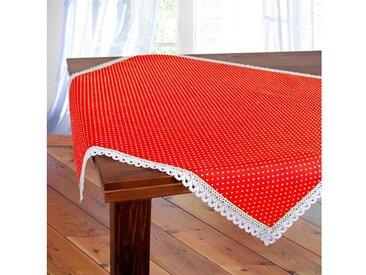 Delindo Lifestyle Mitteldecke »POLKA«, Pünktchendruck, mit Spitze eingefaßt, rot, rot