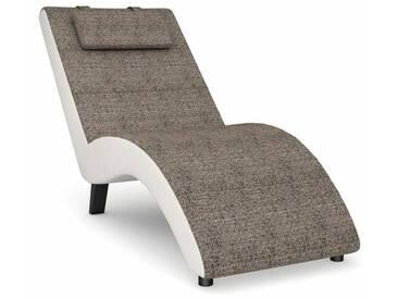 Max Winzer® build-a-chair Relaxliege »Nova«, inklusive Nackenkissen, zum Selbstgestalten, natur, Korpus: Kunstleder weiß, Struktur grob sand meliert