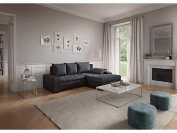 sit&more Ecksofa, grau, 259 cm, Recamiere rechts, schwarz/grau