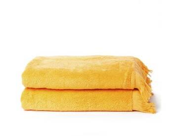Casa di Bassi Handtuch Set »mit Fransenabschluss«, mit Fransenabschluss, gelb, gelb