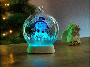 KONSTSMIDE Konstsmide Glaskugel Schneemann, weiß, Lichtquelle RGB, transparent