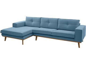 Guido Maria Kretschmer Home&Living GMK Home & Living Polsterecke »Janis«, Leinen oder NaturLEDER mit Eichen-Füßen und Außennaht, blau, Recamiere links