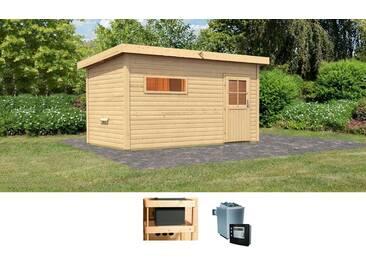 Karibu KARIBU Set: Saunahaus »Uwe 3«, 393/231/239 cm, 9-kW-Ofen mit ext. Steuerung, natur, 9-kW-Ofen mit externer Steuerung, natur